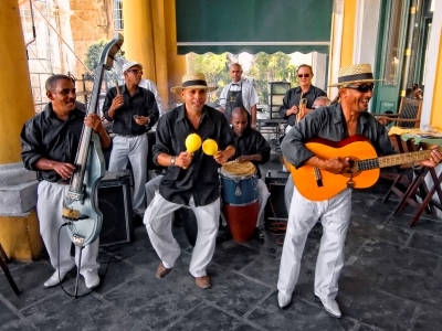 Musicians in Havana, Cuba often play mambo or salsa songs to dance to
