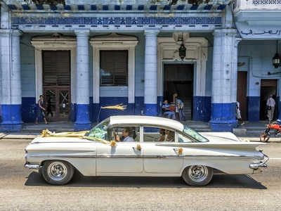 A vintage car is seen in the streets of Santiago, Cuba