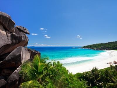 Anse Lazio Praslin Island Seychelles Africa beach white sand blue water