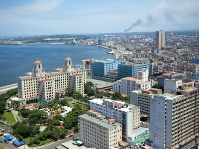 The skyline of Havana, Cuba seen from above