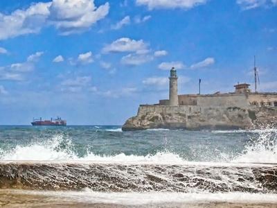 the Del Morrow castle is seen outside of Havana, Cuba