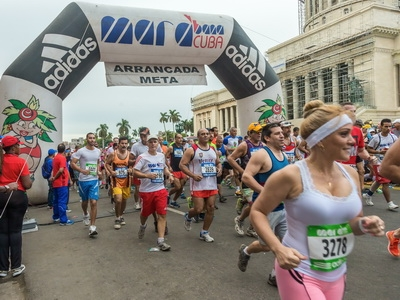 Runners participate in the annual Havana Marathon in Cuba