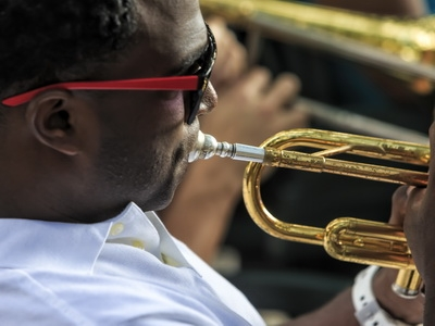 A trumpet player performs Jazz in Havana, Cuba