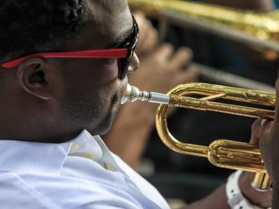 A trumpet player performs Jazz in Havana, Cuba