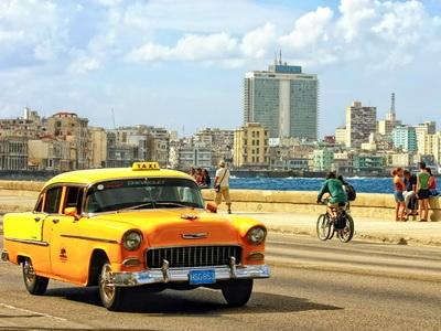 Havana Cuba Malecon Vintage Taxi Cab