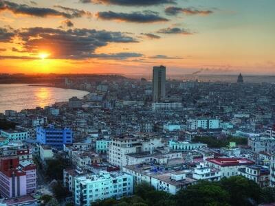 Aerial view of Havana Cuba capital city travel sunset wanderlust Caribbean