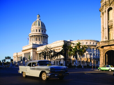 Havana Cuba Capitol building Old Havana vintage car travel