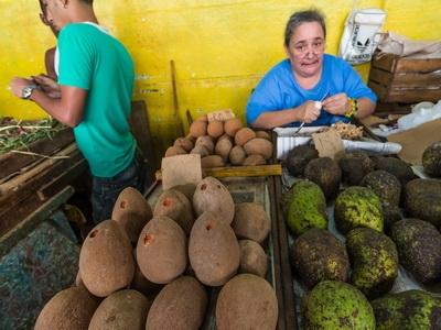Farmers seen in a market in Havana, Cuba