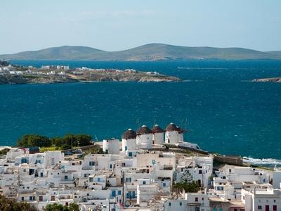 Mykonos Greece travel agean sea blue water ship sail tour vacation cyclades