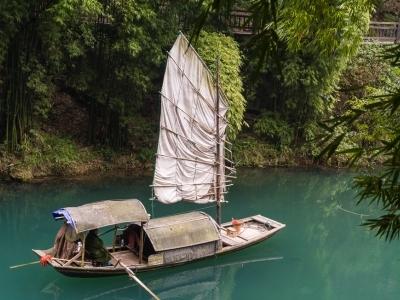 Old fishing boat on Yangtze River near Three Gorges Dam