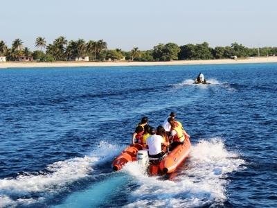 Motorboat Beach Maria La Gorda Cuba Caribbean