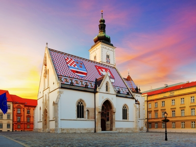 St. Mark's Church in St. Mark's Square Zagreb, Croatia famous history travel sunset
