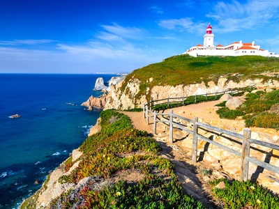 Cabo da Roca, Sintra, Portugal Western most point lighthouse ocean