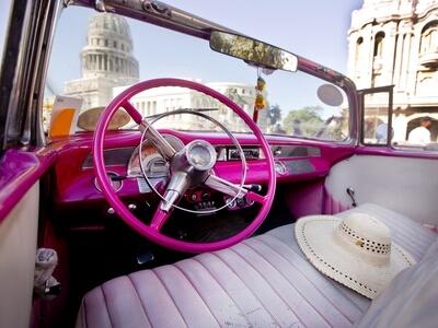 Vintage car had pink cuba capital Havana city drive travel