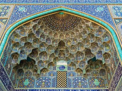 Blue Mosque Iran Tiles Mosiac