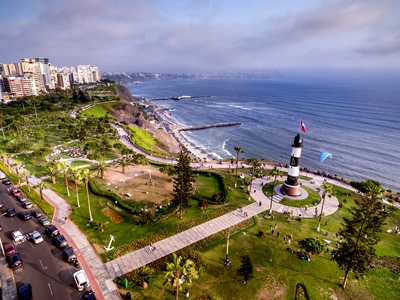 Aerial view of town of Miraflores, coastline of Lima, Peru