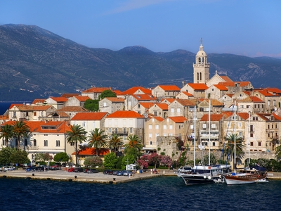Korcula port boat town Croatia Montenegro historic city Marco Polo travel tour