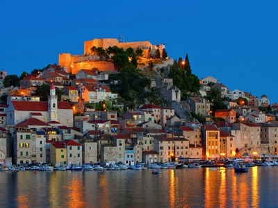 Sibenik night city town port sail adriatic sea dalmatian coast croatia travel