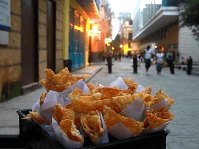 Street Food Chiccharrones in Cuba