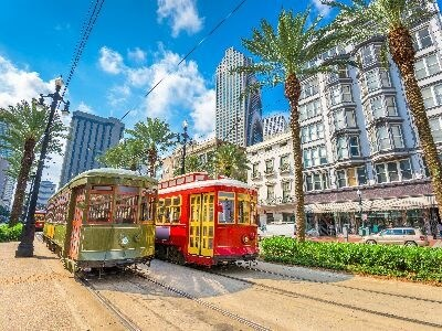 Trolley car in downtown New Orleans
