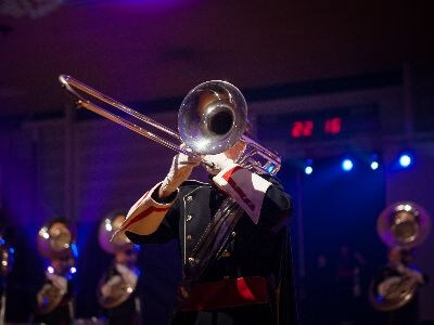 Trombone player at night in New Orleans