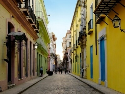 Havana Cuba Alley with Colorful Buildings