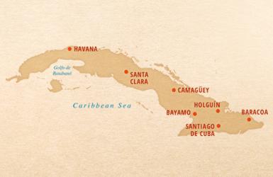 Undiscovered Cuba tour map, Havana, Santiago de Cuba, Santa Clara, Camaguey, Bayamo, Baracoa, Holguin