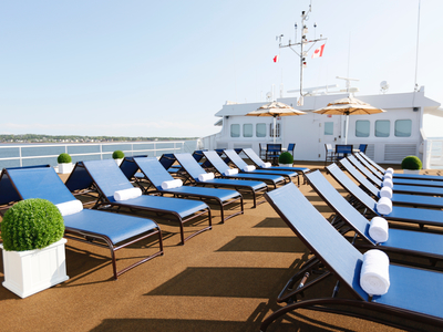observation deck m/v victory I cruise ship vessel sun deck lounge Cuba Caribbean deck luxury vacation