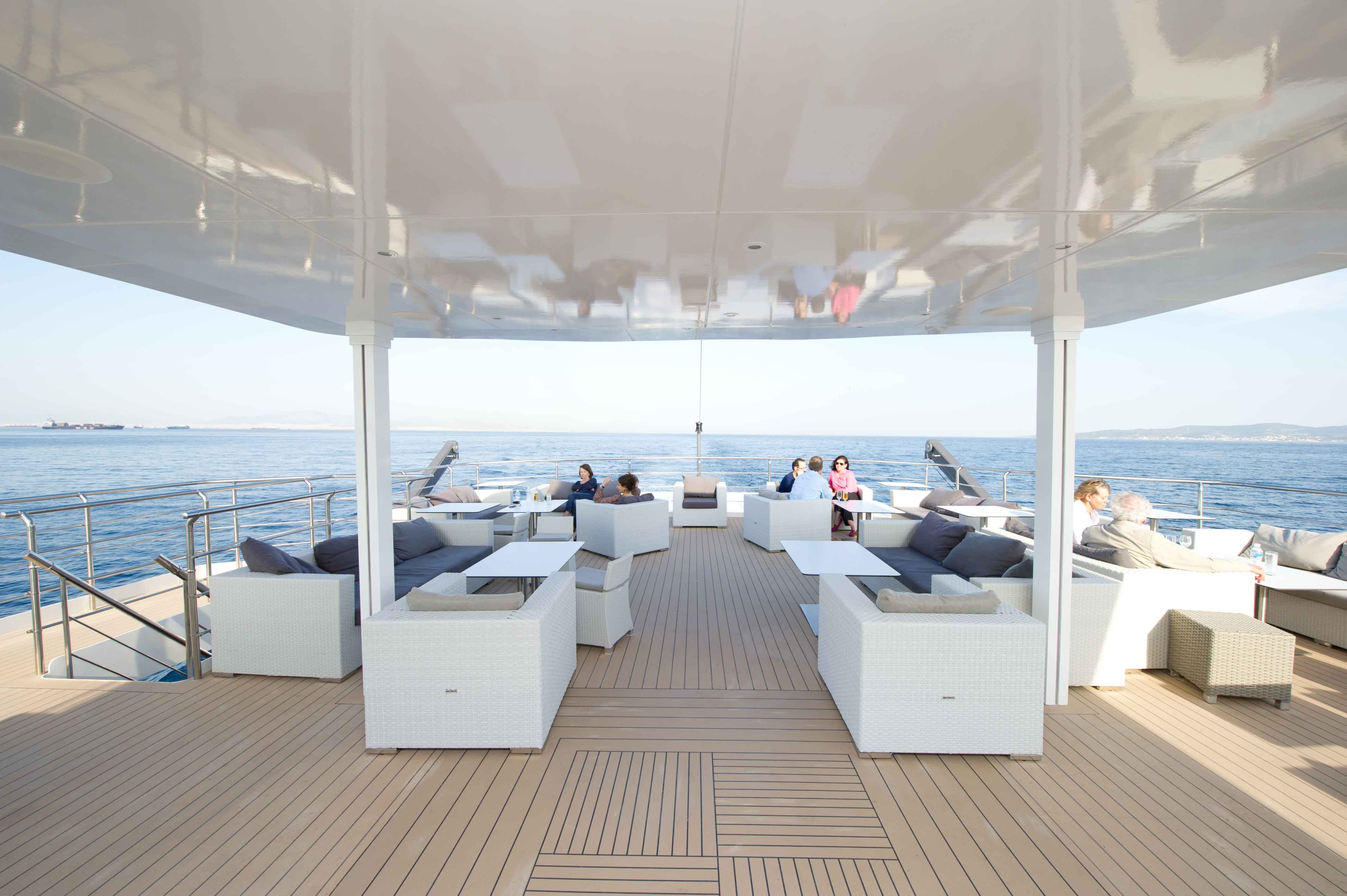 Outdoor lounge on the Oceans Deck